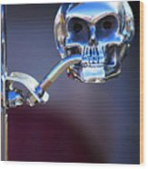 Hot Rod Skull Rear View Mirror Wood Print
