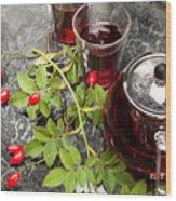 Hot Rosehip Tea In Glass Wood Print