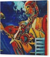 Hot Sax Wood Print