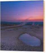 Hot Spring Sunset Wood Print