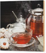 Hot Steaming Tea With Christmas Biscuits Wood Print