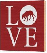 Hound Dog Love Red Wood Print