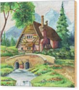 House Along The River Wood Print