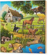 House Animals Wood Print by Anne Wertheim