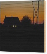 House At Sunset Wood Print
