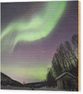 House, Aurora, Night Sky At Alaska, Fairbanks Wood Print