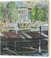 House Boat In Amsterdam Wood Print