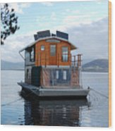 House-boat On The Huan River Wood Print