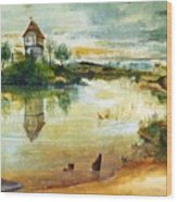 House By A Pond Wood Print