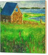 House By The Field Wood Print