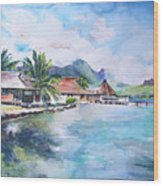 House By The Lagoon In French Polynesia Wood Print