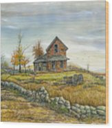 House By The Rock Wall Wood Print