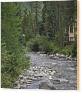 House By The Stream In Vail 1 Wood Print