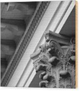 House Column Black And White Wood Print