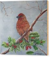 House Finch In Winter Wood Print