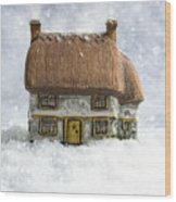 House In Snow Wood Print