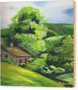 House In The Country Wood Print