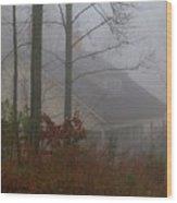 House In The Fog Wood Print