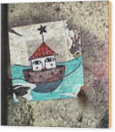 House In The Sea Wood Print