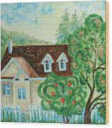 House In The Village Wood Print