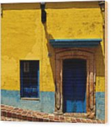 House In Yellow And Blue Wood Print