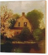 House Near The River. L B Wood Print