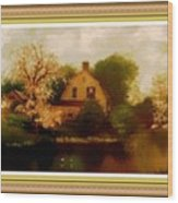 House Near The River. L B With Decorative Ornate Printed Frame. Wood Print