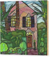 House Of Pink Wood Print