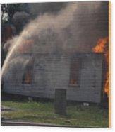 House On Fire Wood Print