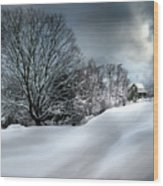 House On The Hill Winters In Vermont Wood Print