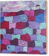 House On Top Of Patchwork Hill Wood Print