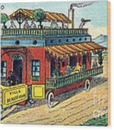 House On Wheels, 1900s French Postcard Wood Print