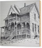 House Virginia City Montana Wood Print