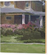 House With Azaleas Wood Print