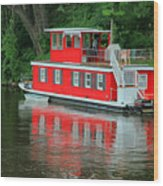 Houseboat On The Mississippi River Wood Print