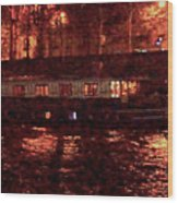 Houseboat On The Seine Wood Print