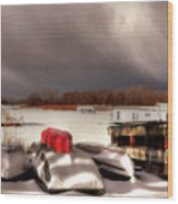Houseboats In Winter Wood Print