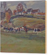 Houses And Cows In Schweiberg Wood Print