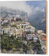 Houses Built On A Hillside Positano Italy Wood Print by George Oze