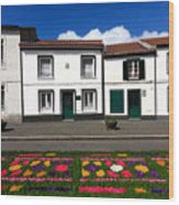 Houses In The Azores Wood Print