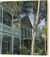 Houses In The Palms  Wood Print
