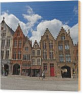 Houses Of Jan Van Eyck Square In Bruges Belgium Wood Print
