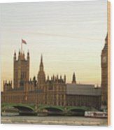 Houses Of Parliament From The South Bank Wood Print by Sharon Vos-Arnold