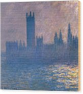 Houses Of Parliament - Sunlight Effect Wood Print