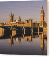 Houses Of Parliament With Westminster Bridge. Wood Print