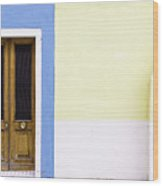 Houses Of Venice - Blue/yellow Wood Print