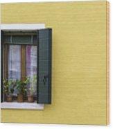Houses Of Venice - Yellow  Wood Print
