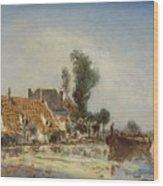 Houses On A Waterway Near Crooswijk Wood Print