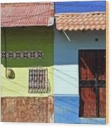 Houses On Street In Leon, Nicaragua Wood Print