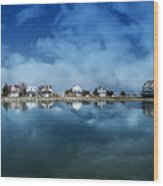 Houses Reflecting In The Bay Wood Print